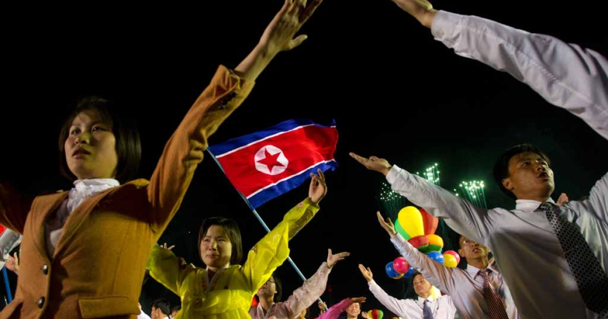 North Korean performers celebrate the 100th birth anniversary of the country's founding leader Kim Il Sung, in Pyongyang on April 16, 2012.</p>