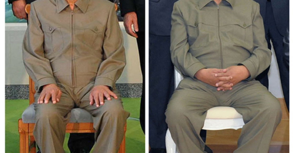 A combination photo shows North Korea's leader Kim Jong Il posing on Aug. 4, 2009 (left) and again with a Russian delegation on May 17, 2011. The photo of Kim Jong Il (right) published this week by state media shows the North Korean leader looking comparatively healthy compared to two years ago when he appeared aged and frail seated alongside visiting former U.S. President Bill Clinton.</p>