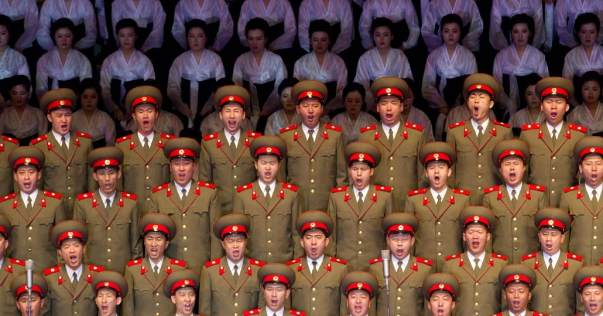 North Korean performers sing during celebrations to mark the 100th birth anniversary of the country's founding leader Kim Il-Sung, in Pyongyang on April 16, 2012.</p>