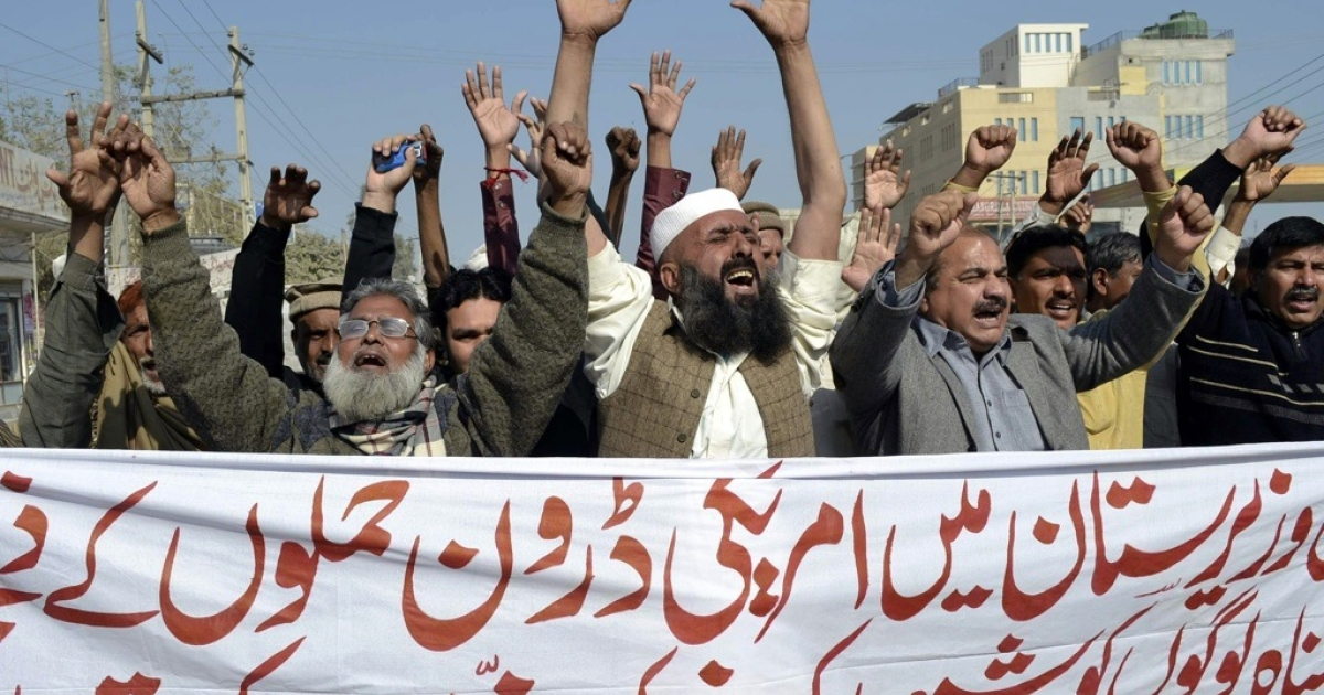 Pakistani protesters shout anti-US slogans during a protest in Multan on Jan. 24, 2012.</p>