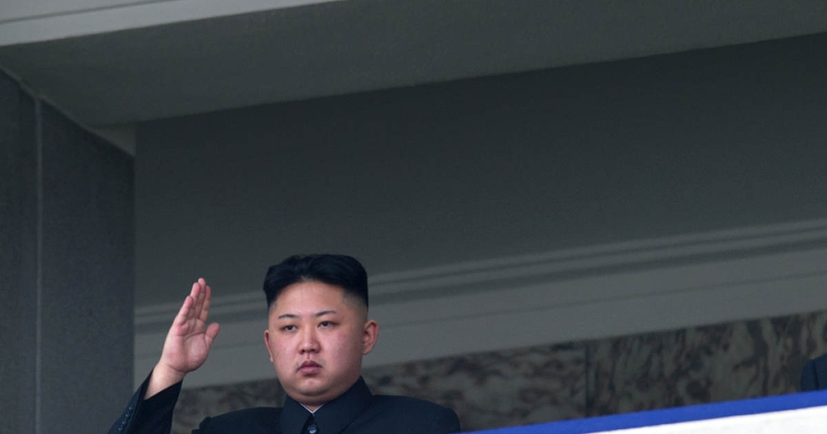 North Korean leader Kim Jong-Un salutes as he watches a military parade to mark 100 years since the birth of the country's founder and his grandfather, Kim Il-Sung, in Pyongyang on April 15, 2012.</p>