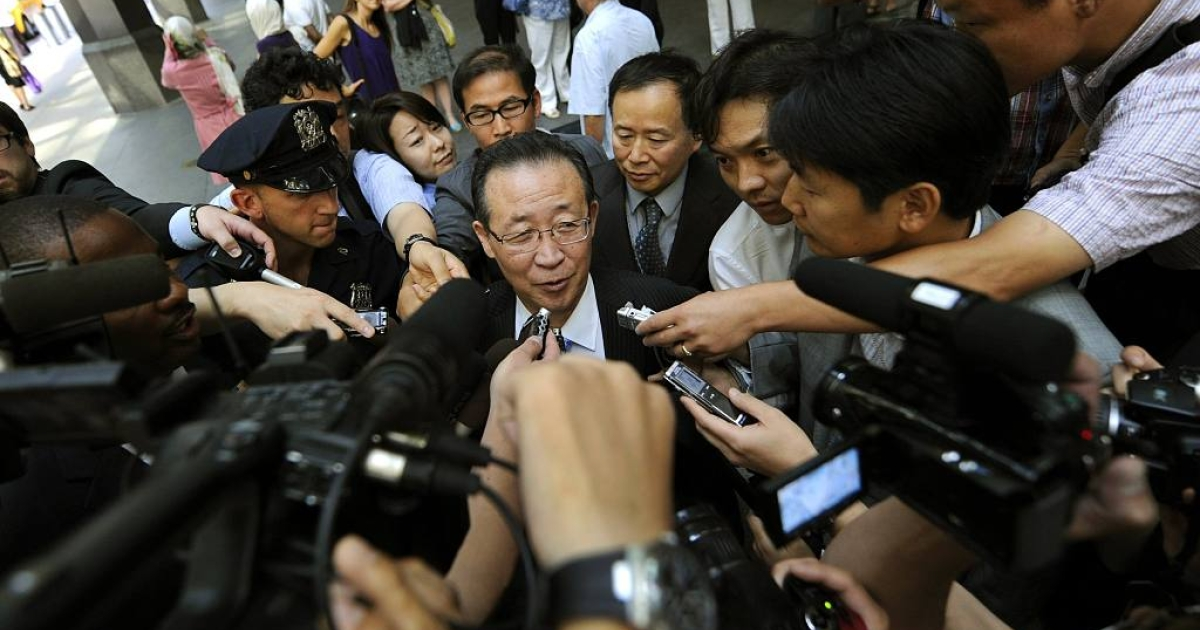 North Korean Vice Foreign Minister Kim Kye Gwan talks to reporters as he leaves his New York City hotel. Kim met with U.S. Ambassador Stephen Bosworth to discuss North Korea's nuclear program on July 28, 2011.</p>