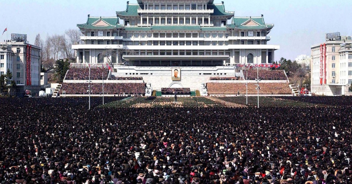 This picture taken by North Korea's official Korean Central News Agency on March 25, 2012 shows Pyongyang's Kim Il Sung square crammed with people for a national memorial service on the 100th day since the death of late leader Kim Jong Il. North Korea held a national memorial service on March 25 to mark the 100th day since the death of leader Kim Jong-Il, hailing the country's nuclear weapons programme as his outstanding feat.</p>