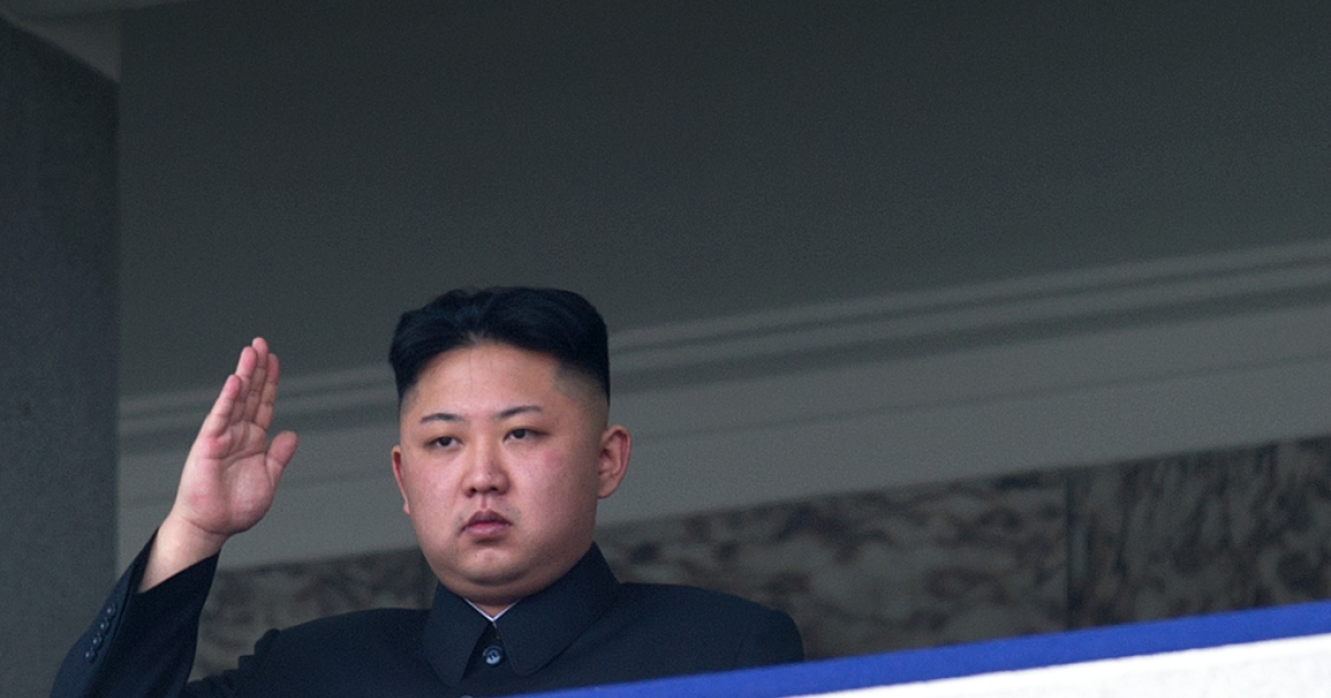 North Korean leader Kim Jong Un salutes as he watches a military parade to mark 100 years since the birth of the country's founder and his grandfather, Kim Il Sung, in Pyongyang on April 15, 2012.</p>