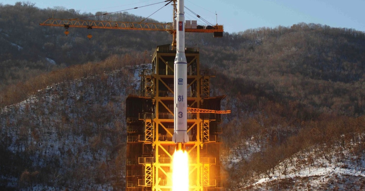North Korean rocket Unha-3, carrying the satellite Kwangmyongsong-3, lifts off from the launching pad in Cholsan county, North Pyongan province on Dec. 12, 2012.</p>