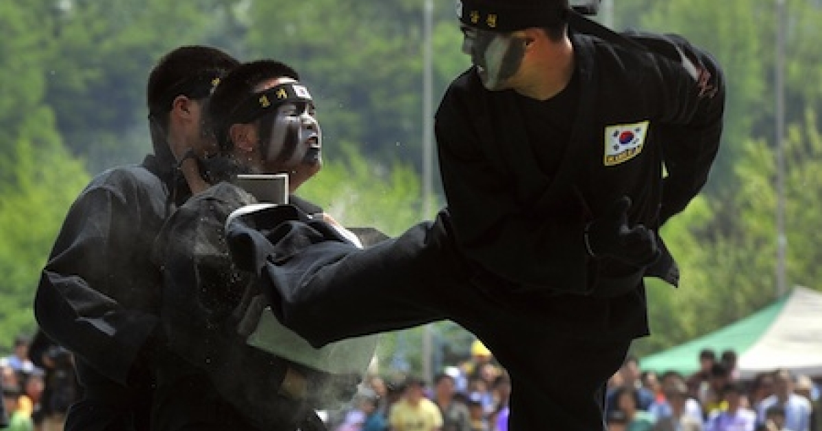 South Korean special warfare soldiers perform martial arts during an event in Seoul in 2009.</p>