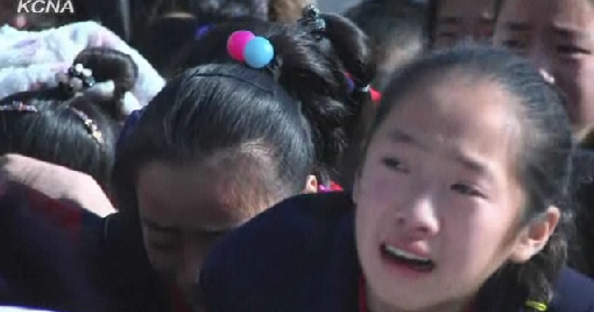 North Koreans sob hysterically in footage posted by the government's propaganda mouthpiece, the Korean Central News Agency.</p>