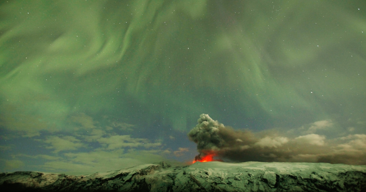 The Northern Lights are seen above the ash plume of Iceland's Eyjafjallajokull volcano in the evening April 22, 2010. But Icelanders fear something else even more: accidental incest.</p>