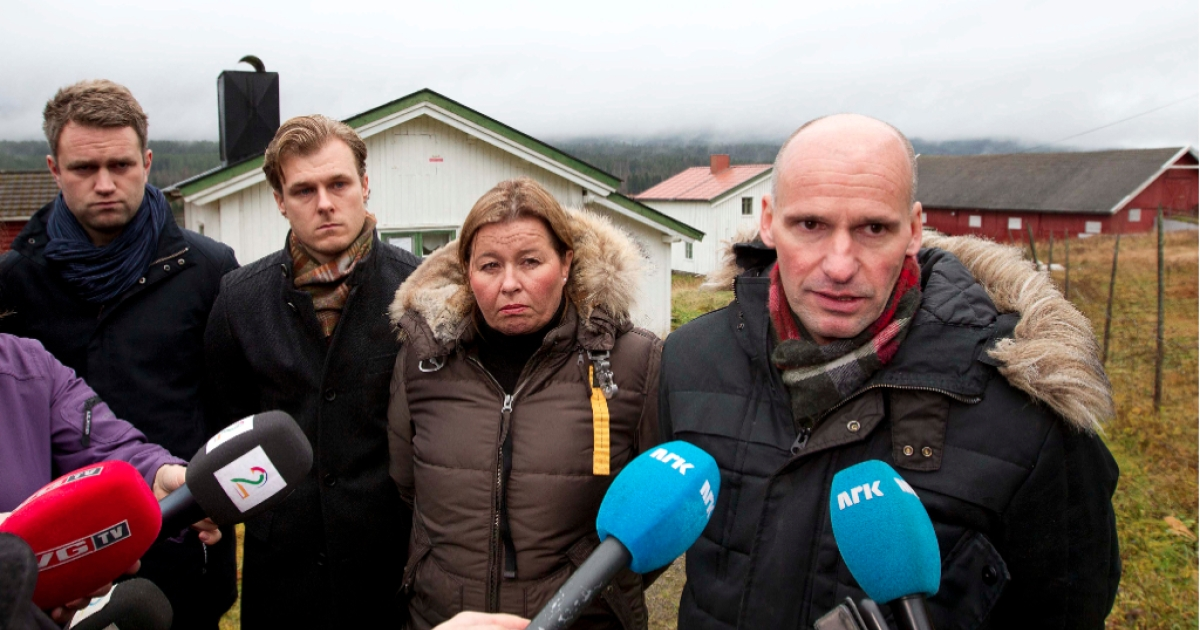 Breivik's defense attorney Geir Lippestad (R), flanked by attorneys (FromL) Odd Ivar Groen, Tord Jordet and Vibeke Hein Baera at Breivik's farm, during a recent inspection.</p>