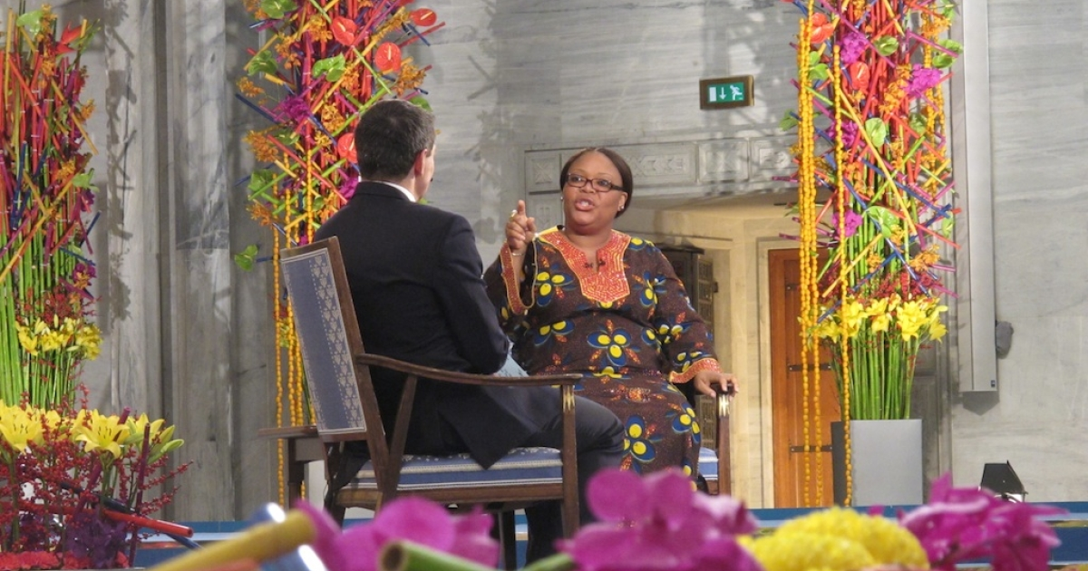 CNN's Jonathan Mann interviews Nobel Peace Prize winner Leymah Gbowee from Liberia during the 2011 award ceremony.</p>