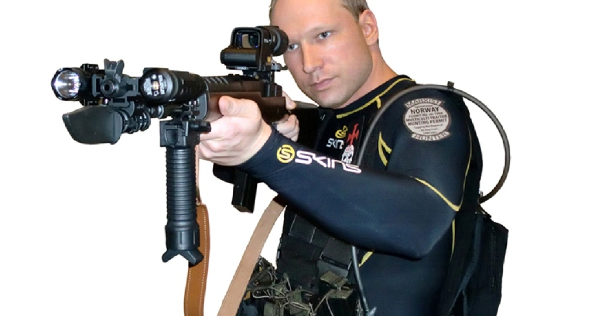 Undated still taken on July 23, 2011 from a manifesto and a video attributed to Anders Behring Breivik that shows him aiming an assault rifle.</p>