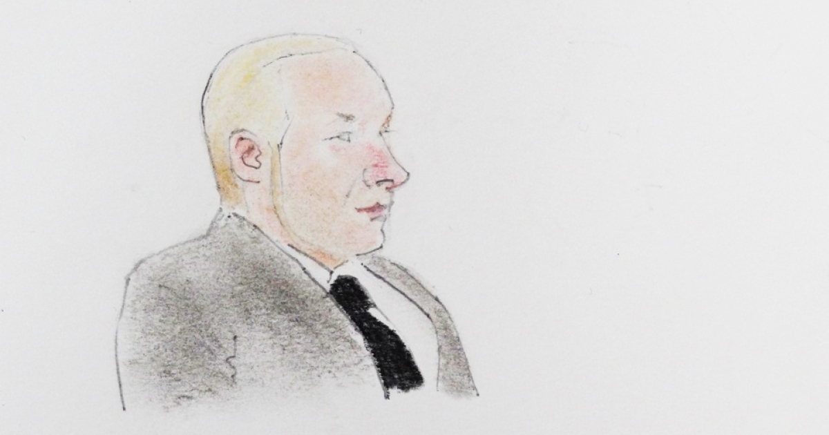 A drawing of terror suspect Anders Behring Breivik during a hearing at the Oslo courthouse, on Nov. 14, 2011.</p>