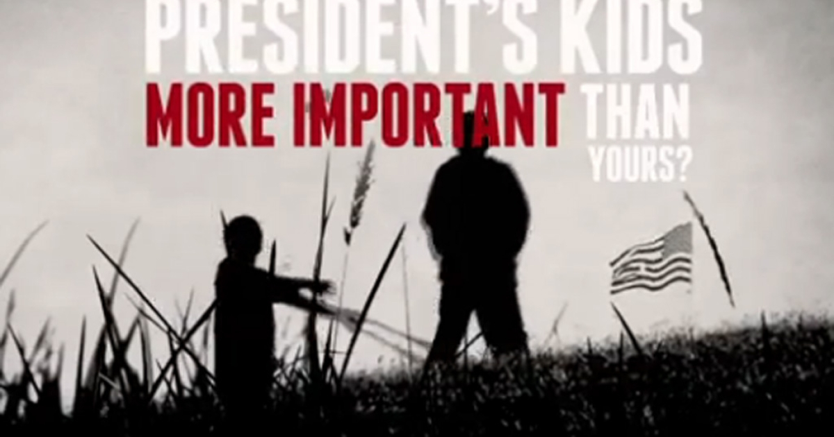 A screengrab from the NRA's new ad taking heat for targeting President Barack Obama's daughters.</p>