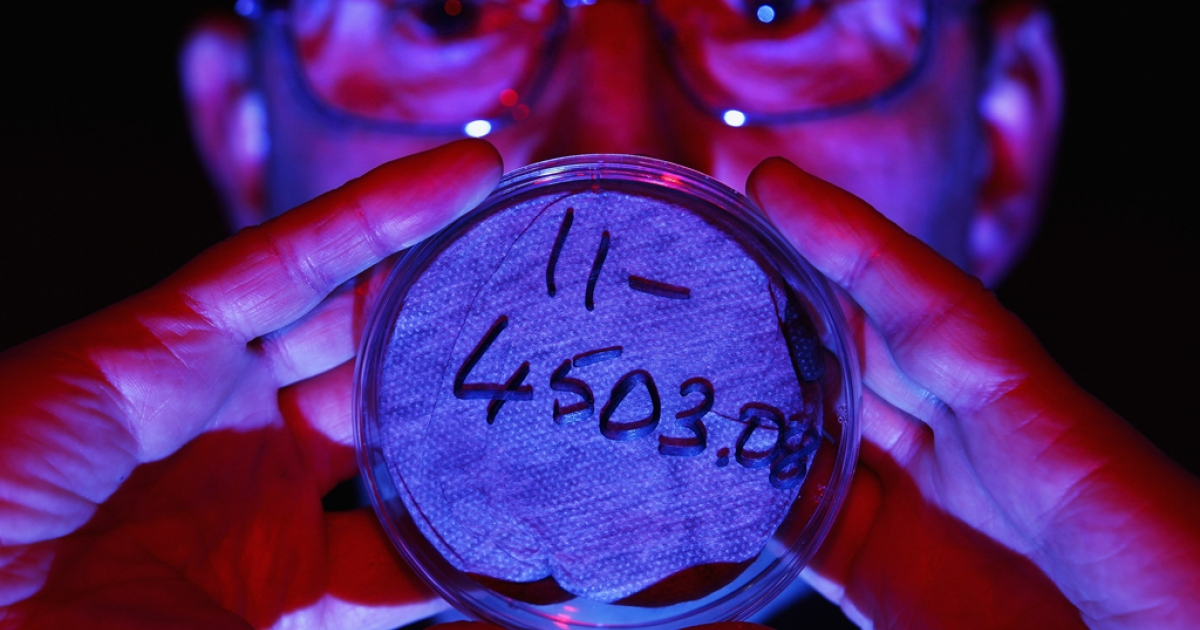 Scientist Eddie O'Neill holds a large petri dish with an air filter on March 29, 2011 in Glasgow, Scotland. The Health Protection Agency has reported low levels of radioactive iodine, believed to be from the Fukushima nuclear plant in Japan, detected in Glasgow and Oxfordshire.</p>