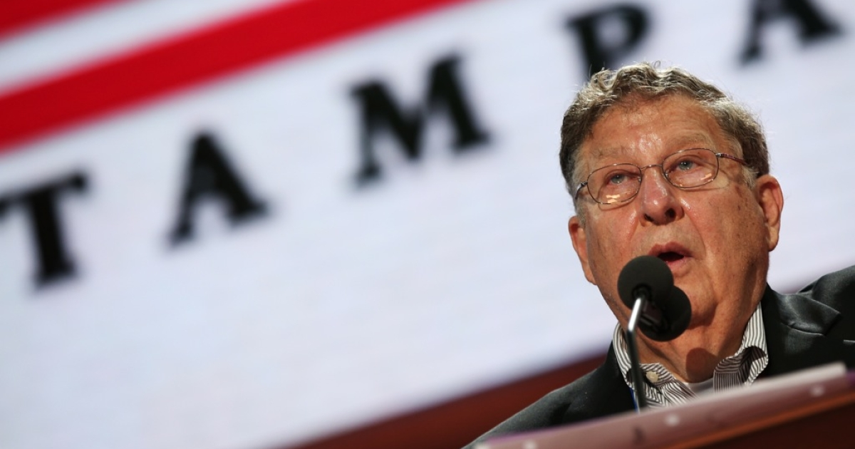 Former New Hampshire Gov. John Sununu (L) stands at the podium on the abbreviated first day of the Republican National Convention at the Tampa Bay Times Forum on August 27, 2012 in Tampa, Florida. The RNC is scheduled to convene today, but will hold its first full session tomorrow after being delayed due to Tropical Storm Isaac.</p>