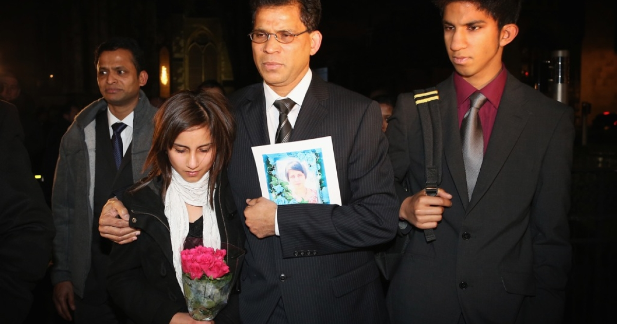 The daughter Lisha, husband Ben Barboza and son Junal of nurse Jacinta Saldanha arrive at the Houses of Parliament ahead of a meeting with MP Keith Vaz on December 10, 2012 in London, England. Jacintha Saldanha was one of two hospital staff who were responsible for inadvertently revealing details of the pregnant duchess's medical condition to two Australian DJs, and was subsequently found dead.</p>
