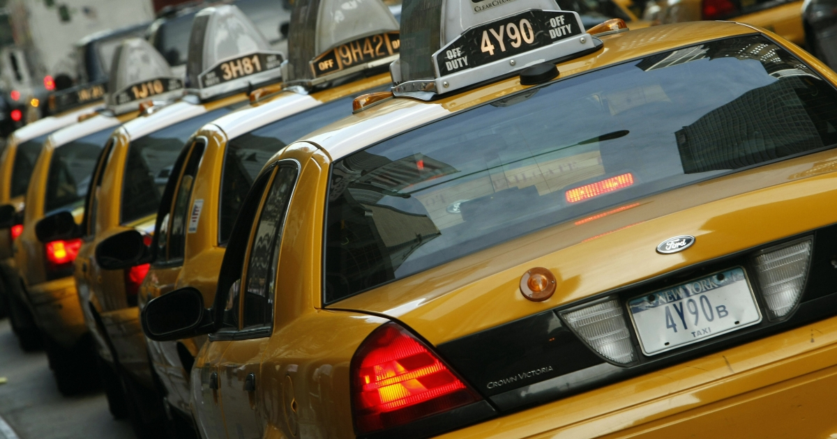 About 8,000 of New York City's more than 13,000 yellow cabs carry ads on their rooftops.</p>