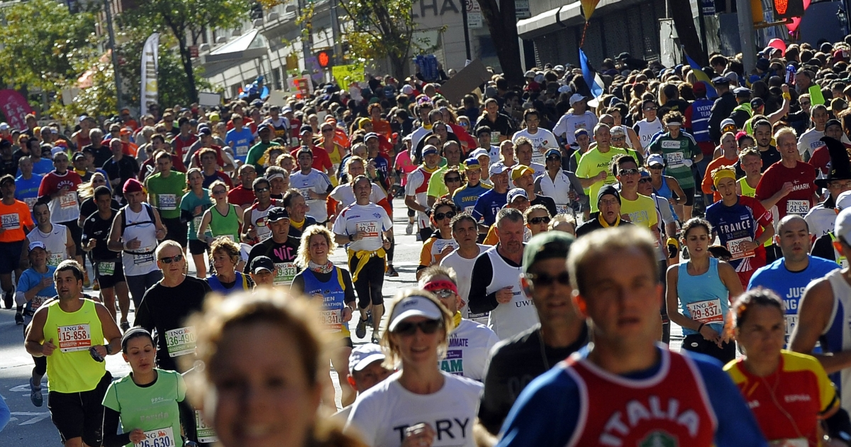 There are nearly 20,000 runners from overseas, and thousands of other runners who come from elsewhere in the United States for the NY marathon.</p>