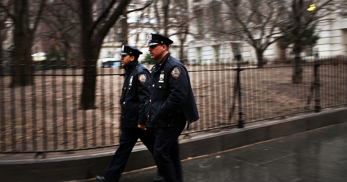Members of the New York Police Department in New York City.</p>