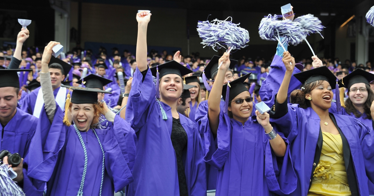 Commencement at Yankee Stadium for 2011 New York University graduates on May 18, 2011.</p>