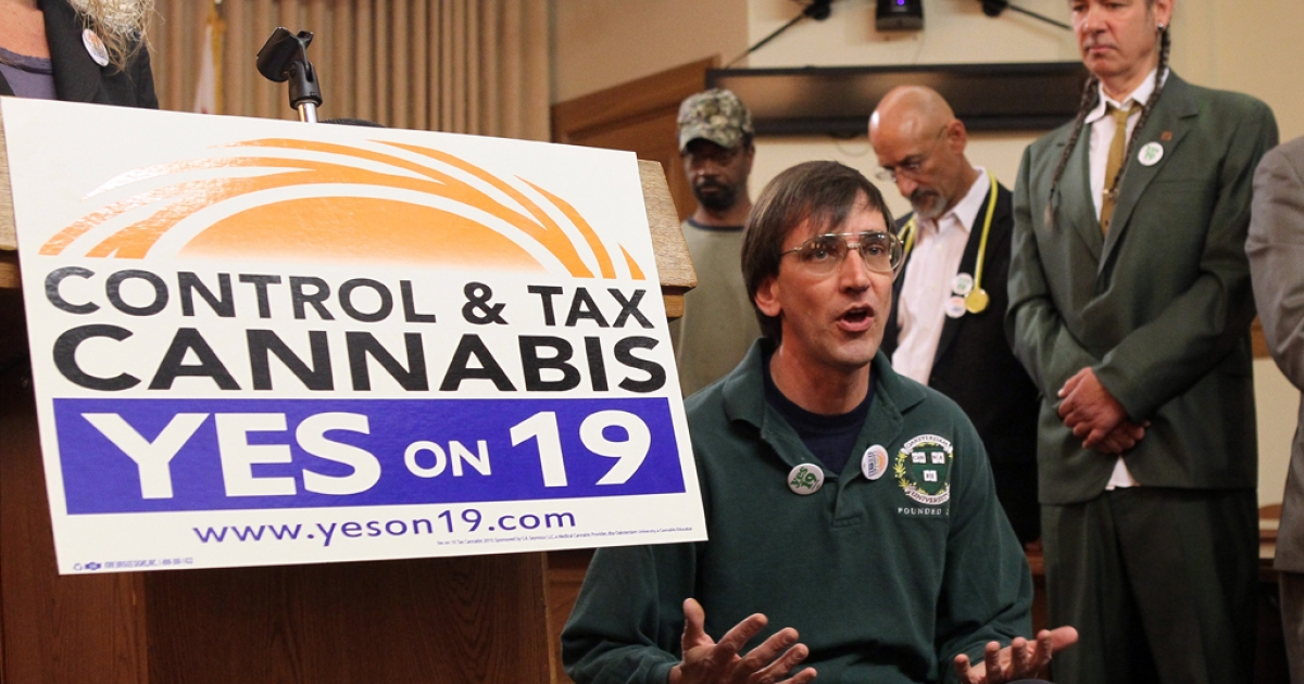 Medical marijuana activist and Oaksterdam University founder Richard Lee during a news conference. Morning raids were conducted on the school by the Internal Revenu Service and the US Drug Enforcement Administration on April 2, 2012.</p>