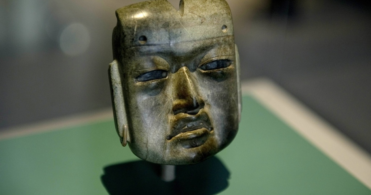 Tourism officials want the world to know that Mexico offers far more than beaches. Here, a hornblende piece called 'The Mask' with influence of the Olmeca culture dating back from around 1470 DC and found in the border between the Mexican states of Guerrero, Puebla and Oaxaca, is displayed at the Museum of Anthropology in Mexico City on July 20, 2011.</p>