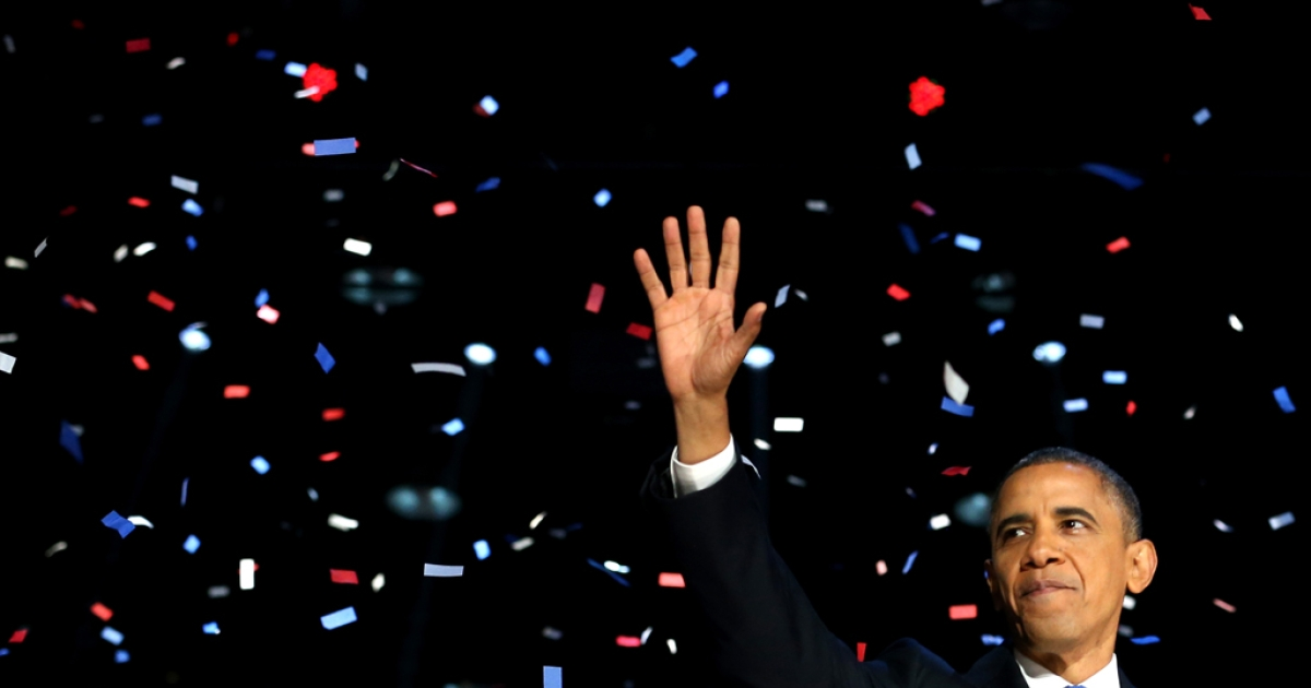 US President Barack Obama waves to supporters after his victory speech at McCormick Place on election night Nov. 6, 2012, in Chicago, Ill. The president was sworn in for his second term in office on Jan. 21, 2013, at the National Mall in Washington, D.C.</p>
