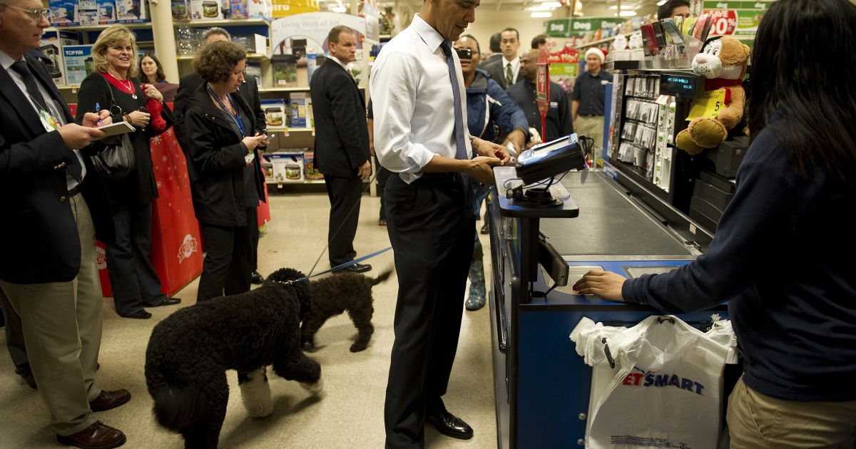 President Barack Obama, shopping in Alexandria, Va., put his last-minute Christmas gifts on his credit card on Dec. 21, 2011.</p>