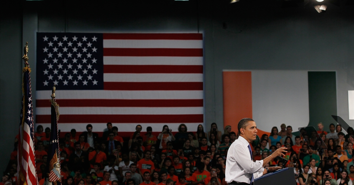 United States President Barack Obama gives a speech at the University of Miami in Florida on Feb. 23, 2012.</p>