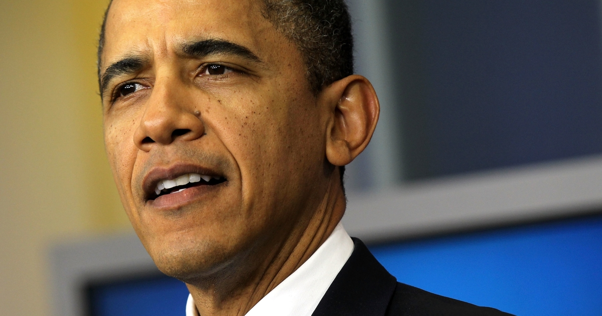 U.S. President Barack Obama delivers a statement at the White House on Dec. 5, 2011 urging Republicans in Congress to extend the payroll tax cut.</p>