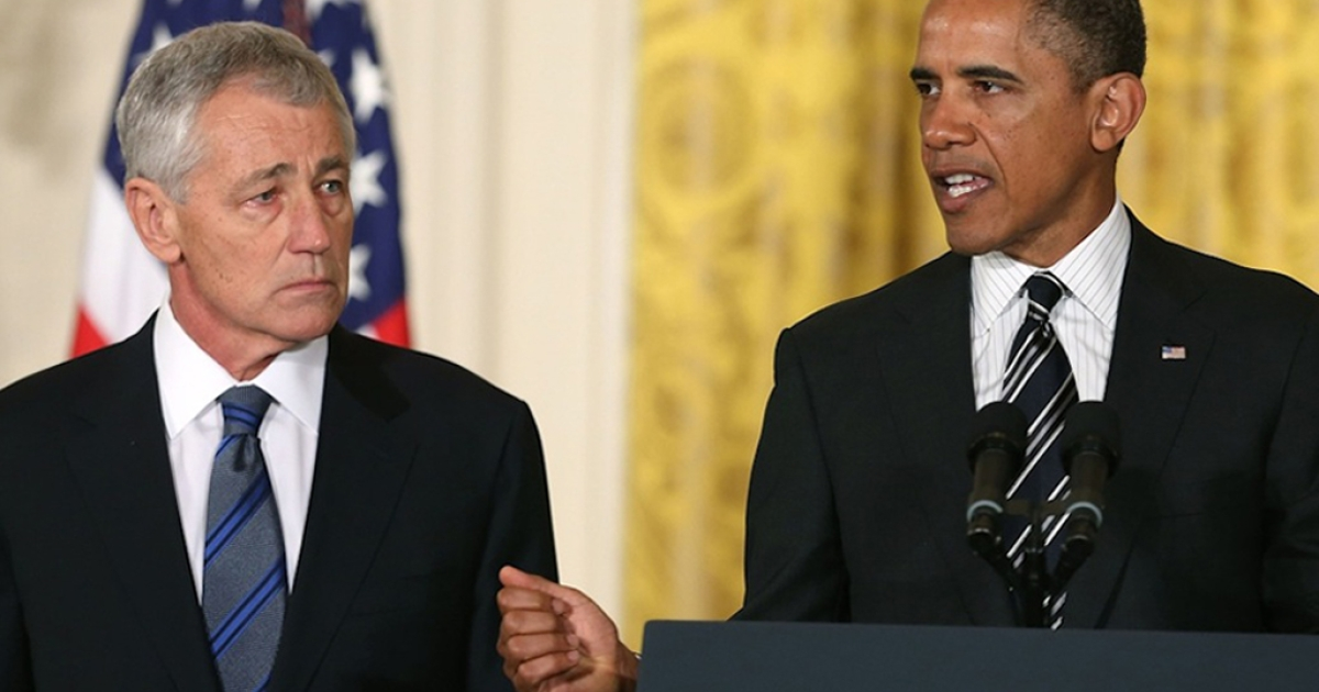 US President Barack Obama (right) speaks during a news conference with former US Sen. Chuck Hagel (R-Neb.) in the East Room at the White House on January 7, 2013 in Washington, DC. Pending approval by the Senate, the nomination of Hagel as Secretary of Defense will replace Leon E. Panetta.</p>