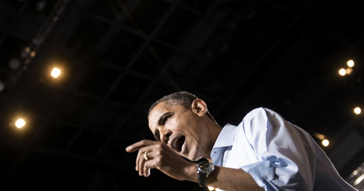 US President Barack Obama speaks during a campaign event at the Value City Arena - Schottenstein Center on May 5, 2012 in Columbus, Ohio. Obama traveled  to Ohio and Virginia where he held rallies to officially begin his reelection bid for the 2012 presidential election.</p>