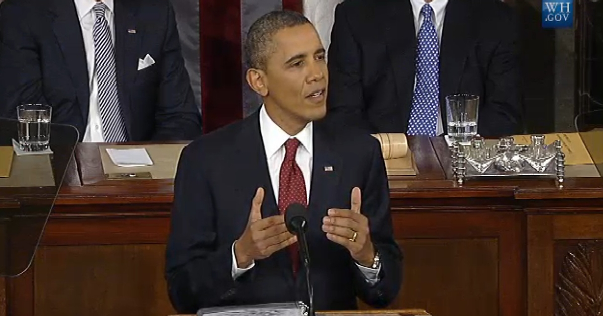 US President Barack Obama addresses the nation on Jan. 24, 2012.</p>