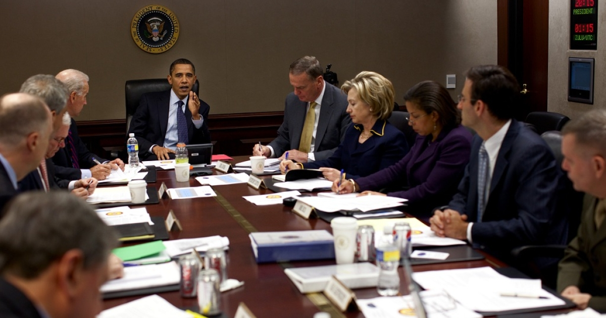 In this handout image provided by The White House, U.S. President Barack Obama is seen chairing a meeting on Afghanistan in the Situation Room of the White House, November 23, 2009 in Washington, DC. Obama is expected to announce his decision on U.S. troop strength in Afghanistan after Thanksgiving.</p>