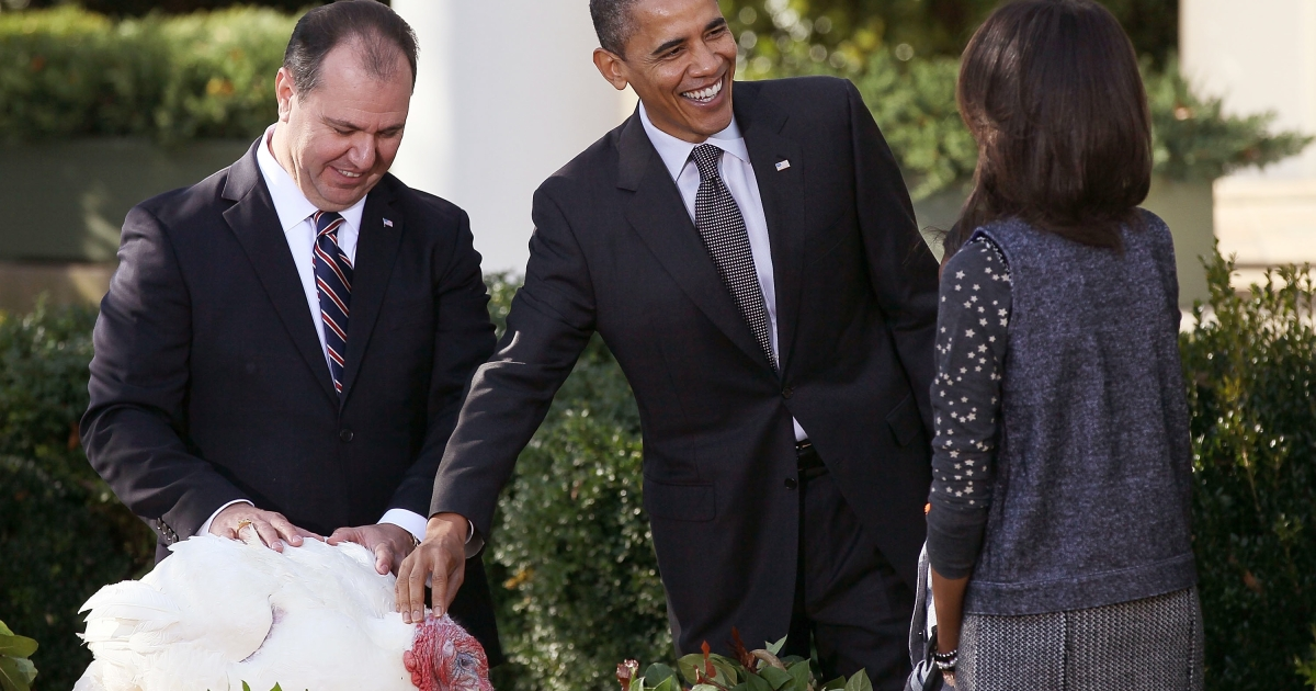 President Barack Obama pardons the National Thanksgiving Turkey in a ceremony with his daughter Malia (R) and National Turkey Federation Chairman Yubert Envia (L) at the White House on Nov. 24, 2010.</p>