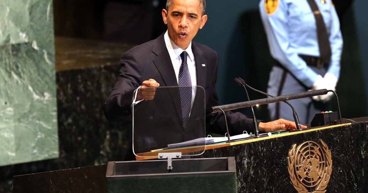 US President Barack Obama addresses world leaders at the United Nations General Assembly on Sept. 25, 2012 in New York City.</p>