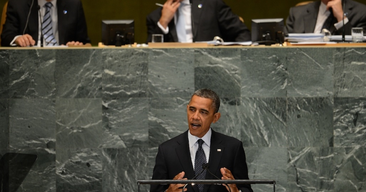 US President Barack Obama addresses the 67th UN General Assembly at the United Nations headquarters in New York, Sept. 25, 2012. Obama on Tuesday demanded 'sanctions and consequences' for atrocities in Syria and said President Bashar al-Assad's rule must come to an end. 'The future must not belong to a dictator who massacres his people,' Obama told the UN General Assembly in a keynote address.</p>