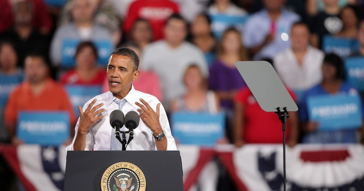 US President Barack Obama speaks at a campaign rally at Desert Pines High School on Sept. 30, 2012 in Las Vegas, Nevada. Obama is scheduled to be in Henderson, Nevada through Wednesday preparing for his first presidential debate against Republican presidential candidate, former Massachusetts Gov. Mitt Romney.</p>
