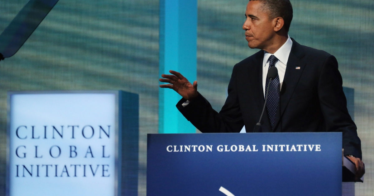 US President Barack Obama speaks at the Clinton Global Initiative meeting on September 25, 2012 in New York City.</p>