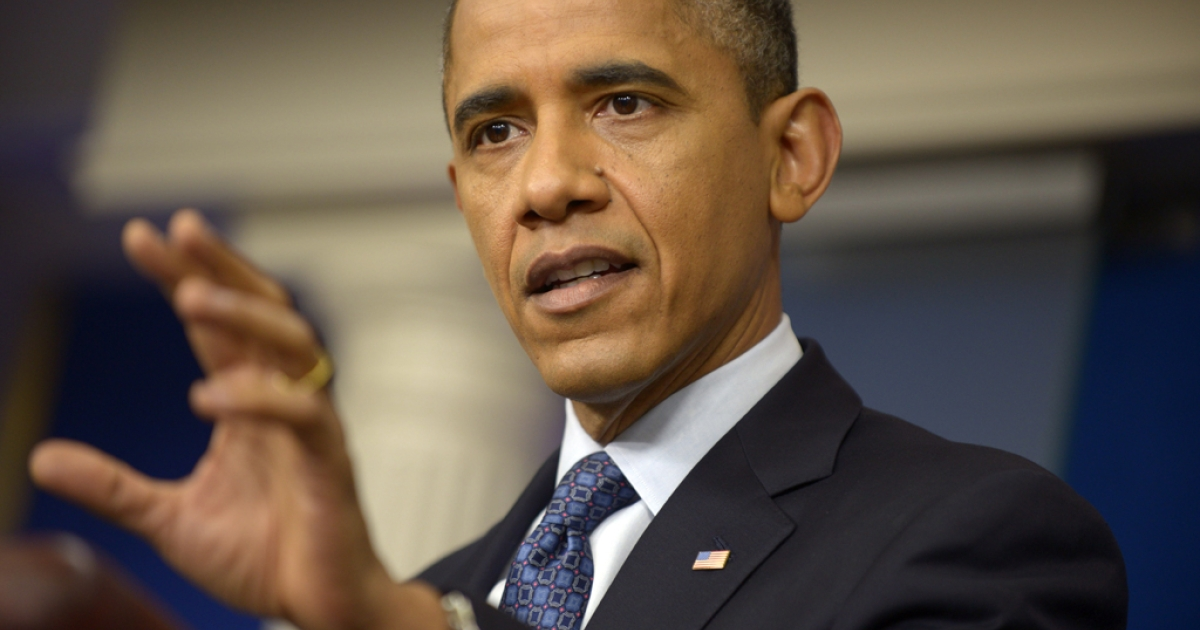 US President Barack Obama speaks to the media on June 8, 2012 at the White House in Washington, DC. Obama addressed the eurozone crisis and its impact on the United States while urging Congress to pass a string of bills designed to help grow the economy and create more jobs.</p>