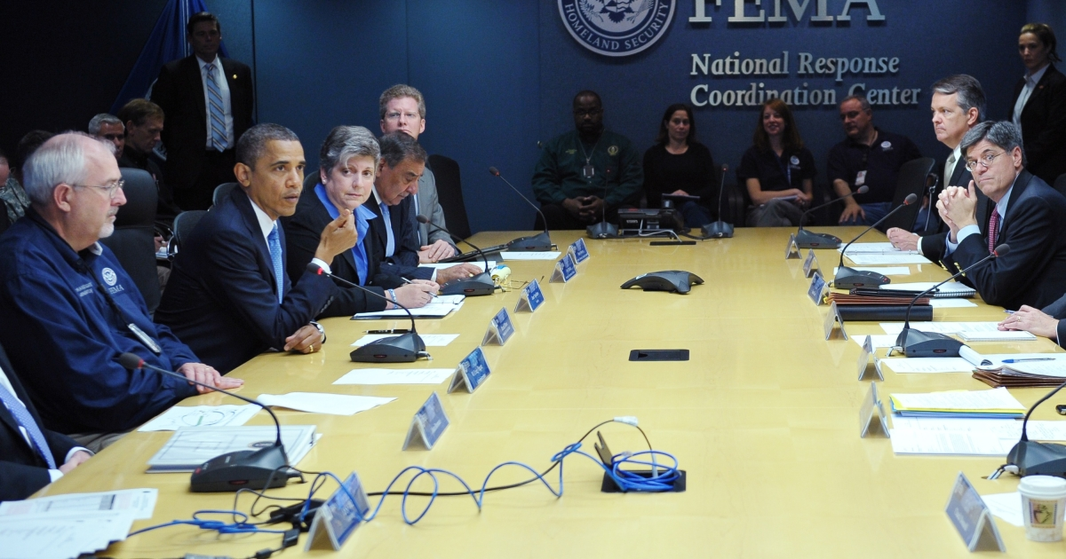 US President Barack Obama takes part in a meeting at headquarters of the Federal Emergency Management Agency (FEMA) on Oct. 31, before visiting New Jersey see areas hit hard by superstorm Sandy.</p>