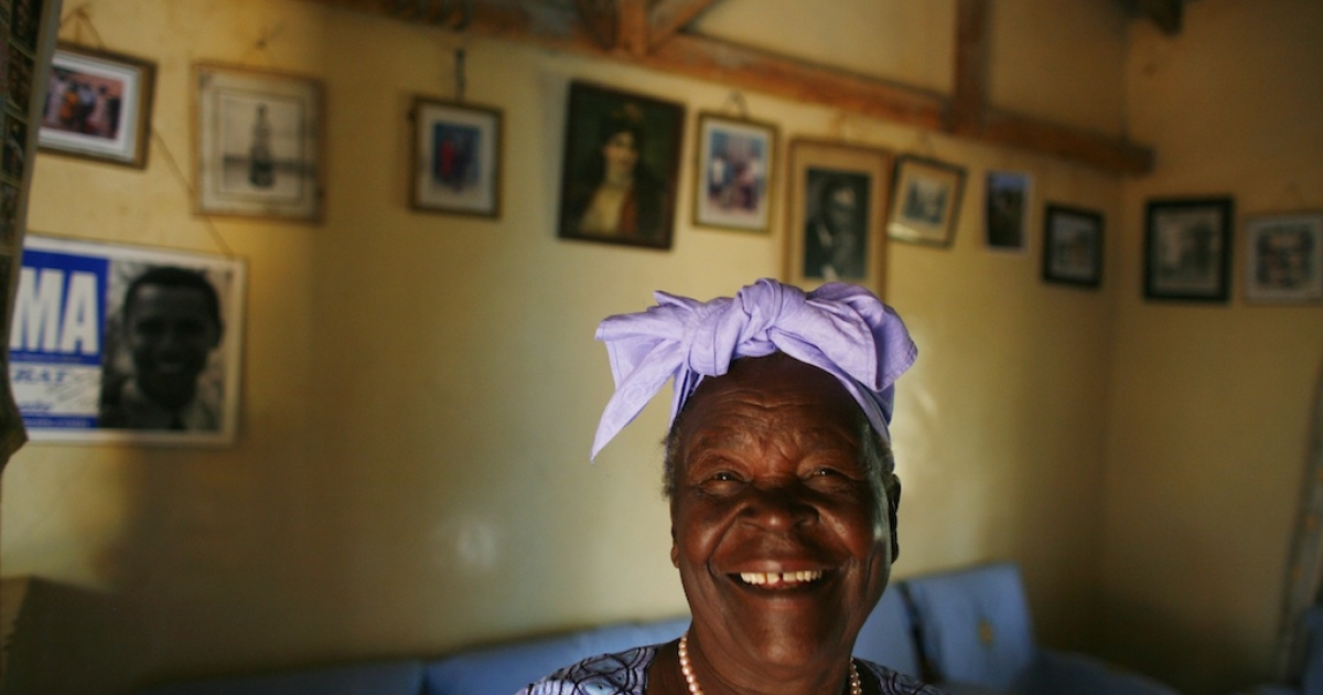 Sarah Hussein Obama, 86, the grandmother of U.S. President Barack Obama, posed in her home awaiting the results of Super Tuesday's primary February 5, 2008 in Kogelo, Kenya.</p>