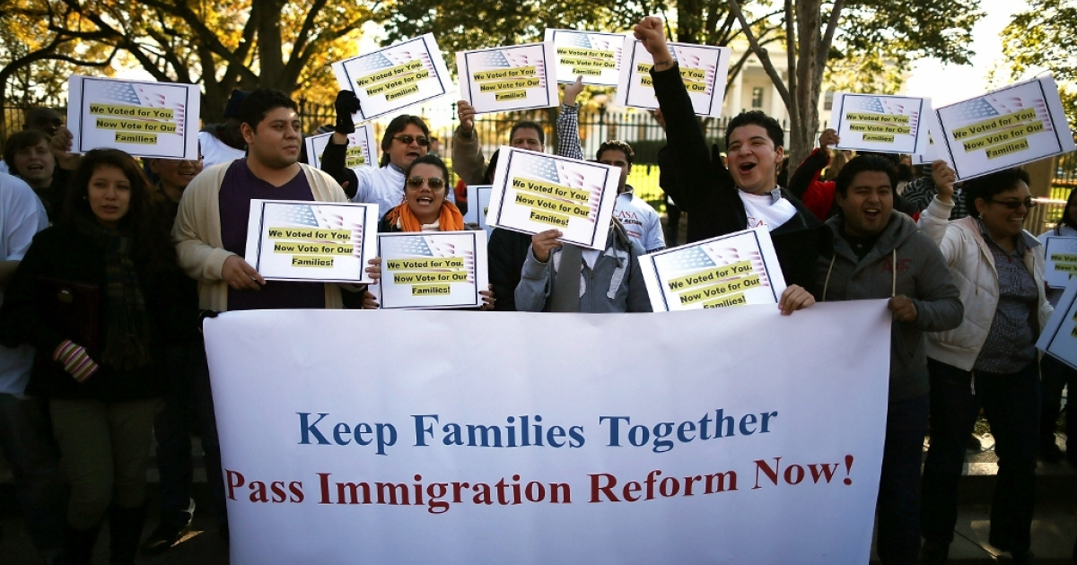 Activists rally for immigration reform Nov. 8, 2012 in Washington, D.C. Minority voting blocs, long strongly Democrat, will only become more influential in the coming decades.</p>