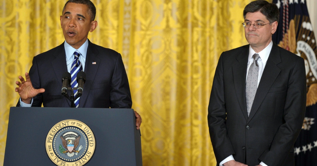 President Barack Obama announces his choice of White House Chief of Staff Jack Lew as the next Treasury Secretary in the East Room of the White House on Jan. 10, 2013 in Washington, DC. Lew has been nominated to replace Tim Geithner.</p>