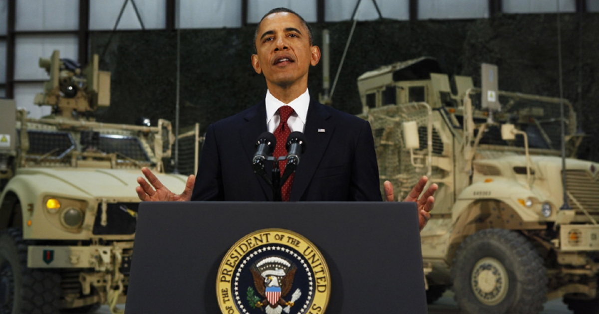 US President Barack Obama delivers a speech on US policy and the war in Afghanistan during his May 2 visit to Bagram Air Base in Kabul, Afghanistan.</p>