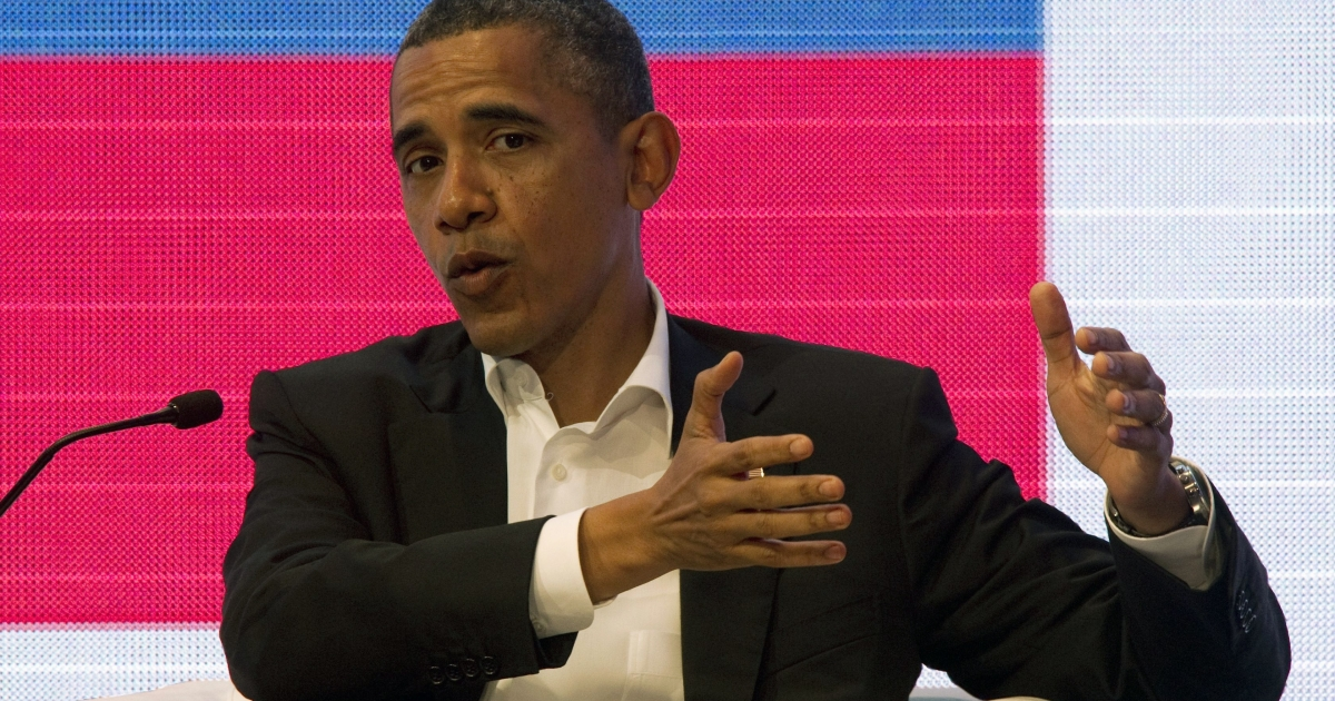President Obama speaks today at a forum with Brazil's President Dilma Rousseff and Colombia's President Juan Manuel Santos at the CEO Summit of the Americas in Cartagena, Colombia.</p>