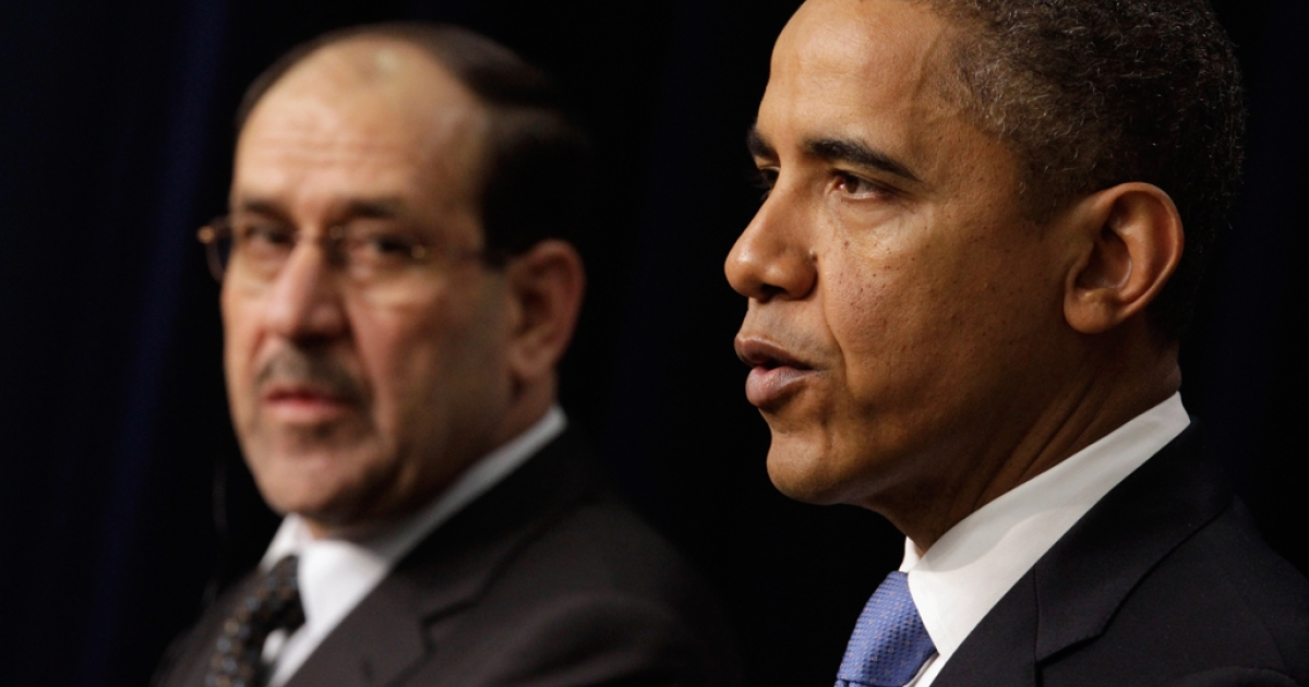 Iraqi Prime Minister Nouri Al-Maliki and President Barack Obama hold a news conference in the Eisenhower Executive Office Building next to the White House. Al-Maliki is in Washington for talks ahead of the December 31 full withdrawl of U.S. troops from Iraq and the end of a deeply divisive nine-year war.</p>