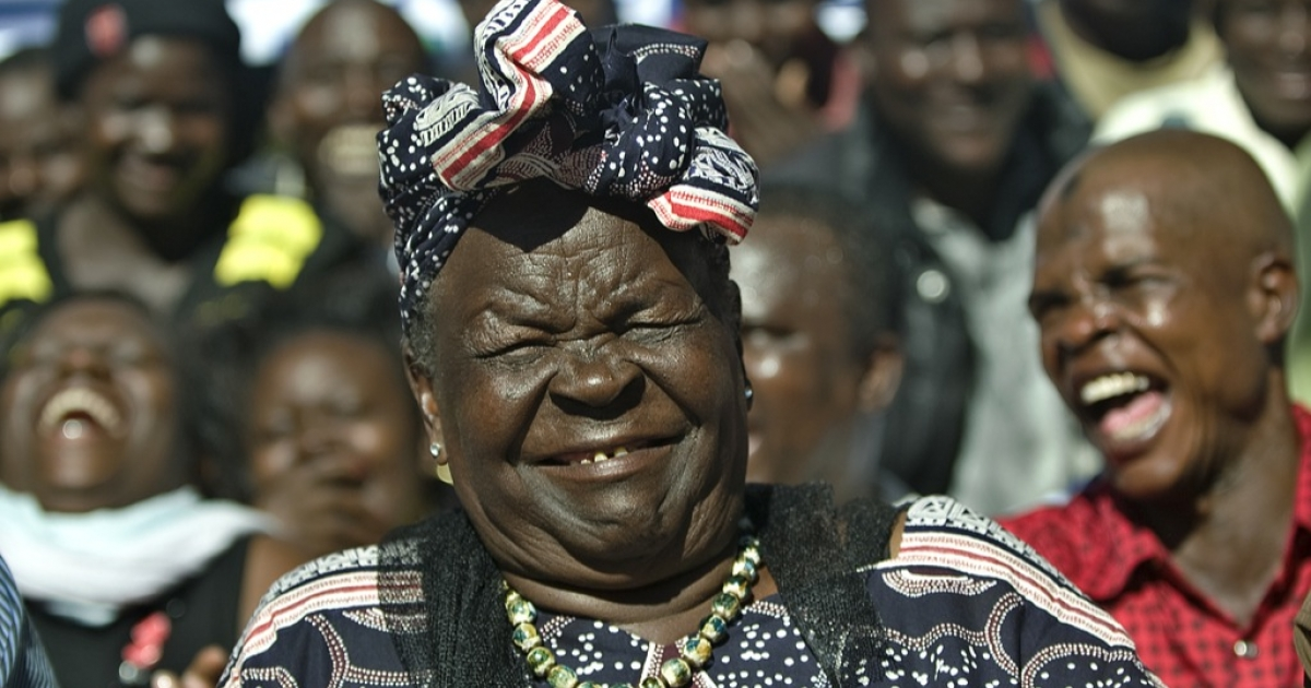 Sarah Obama, step-grandmother to USA's President elect, Barak Obama, reacts with members of her family on November 7, 2012 in the hamlet of Kogelo in western Kenya during a press conference that followed media-anouncements of Obama's apparent victory.</p>
