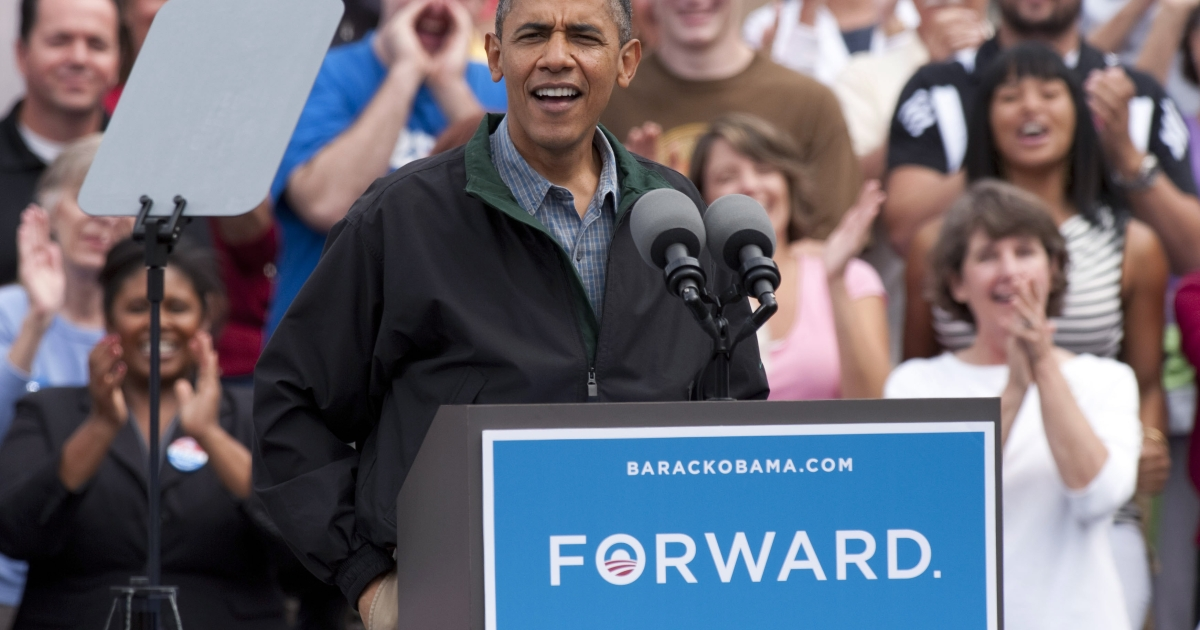 President Barack Obama greets the crowd during a grassroots campaign stop at Bayliss Park, August 13, 2012, in Council Bluffs, Iowa. The shrinking American middle class thinks Congress and Obama are to blame for the decline in their quality of life.</p>