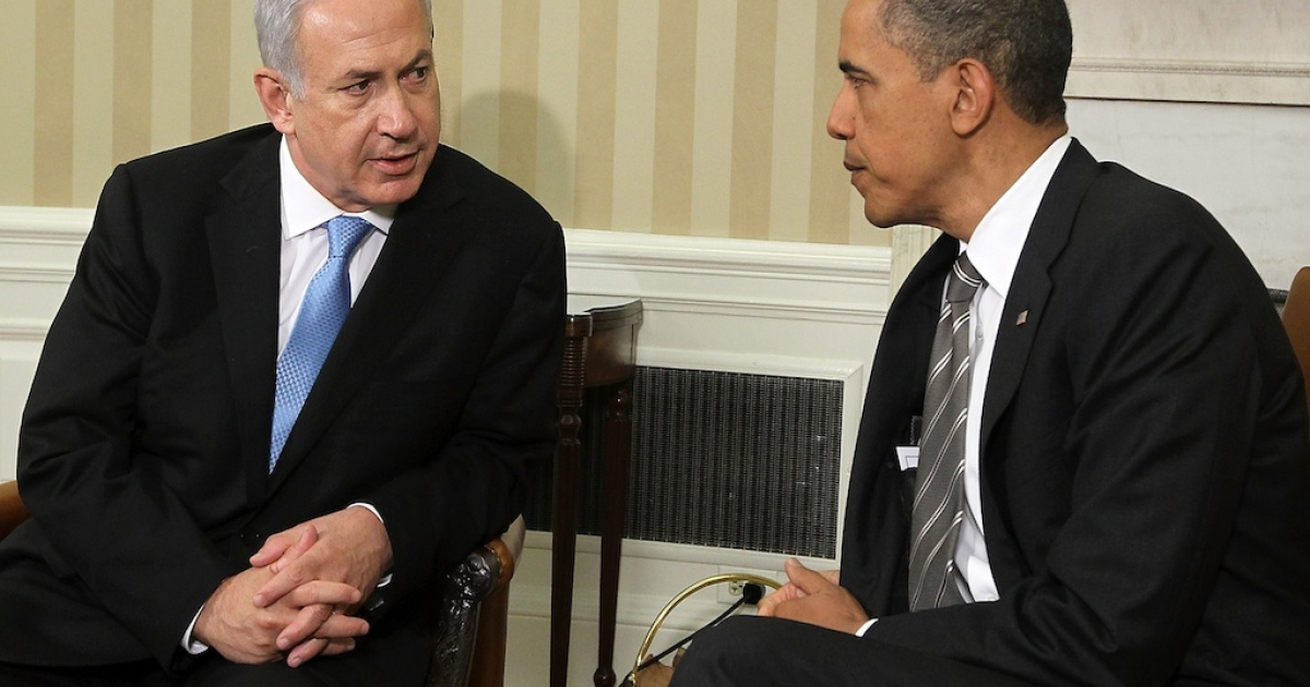 US President Barack Obama and Israeli Prime Minister Benjamin Netanyahu prepare to make statements after their meeting May 20, 2011 in the Oval Office of the White House in Washington, DC.</p>